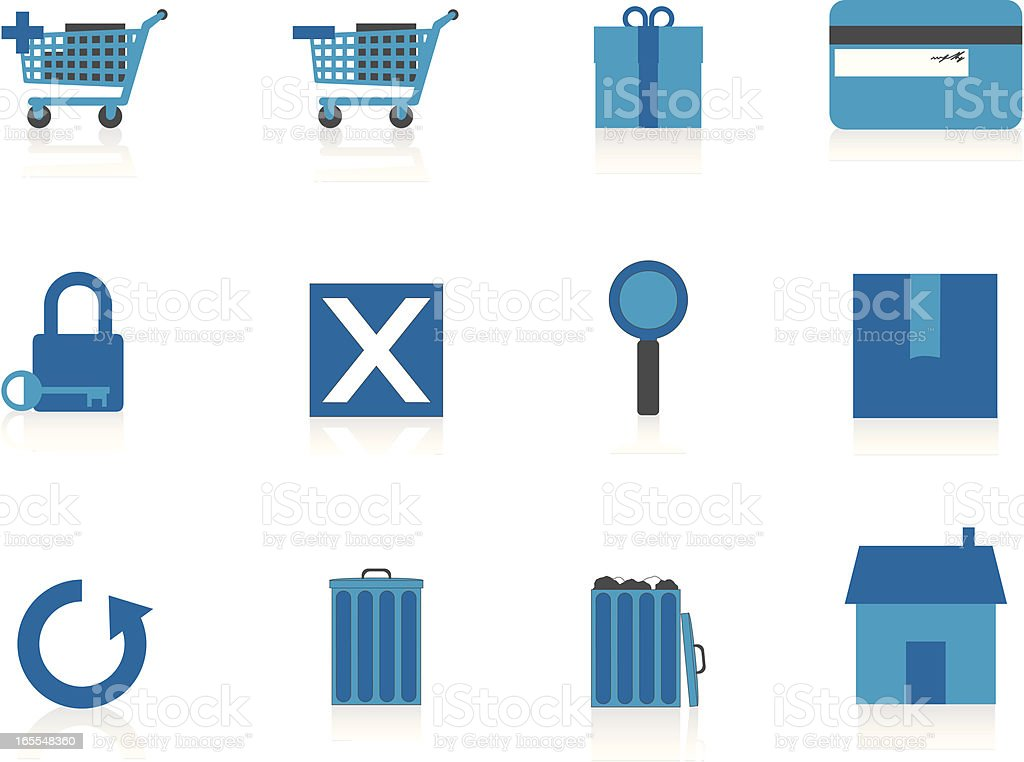 Internet Icons Series 1 - E-Commerce, Blue (Aqua) royalty-free stock vector art