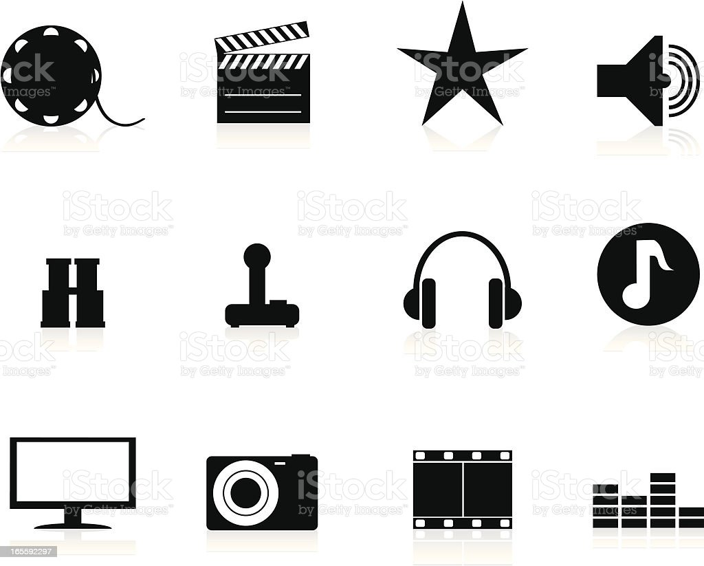 Internet Icons Series 3 - Audio & Visual, Black vector art illustration