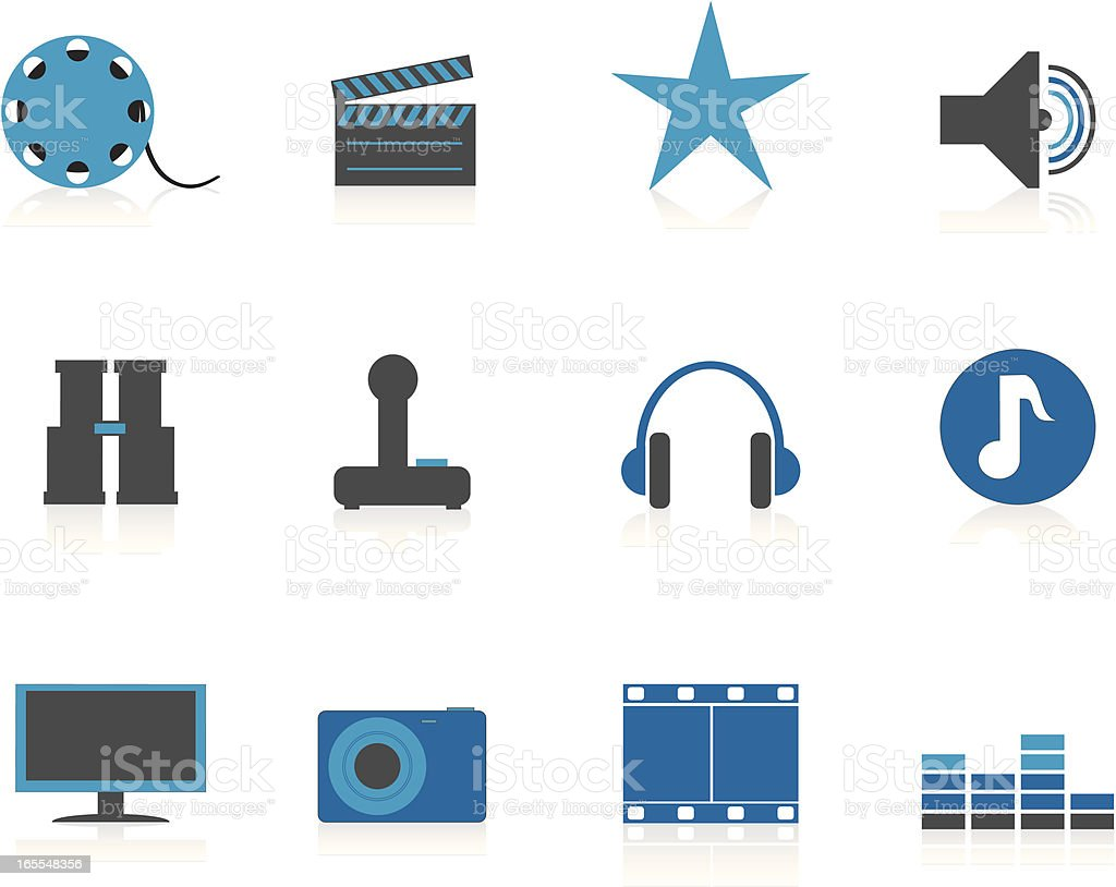 Internet Icons Series 3 - Audio & Visual, Blue (Aqua) vector art illustration
