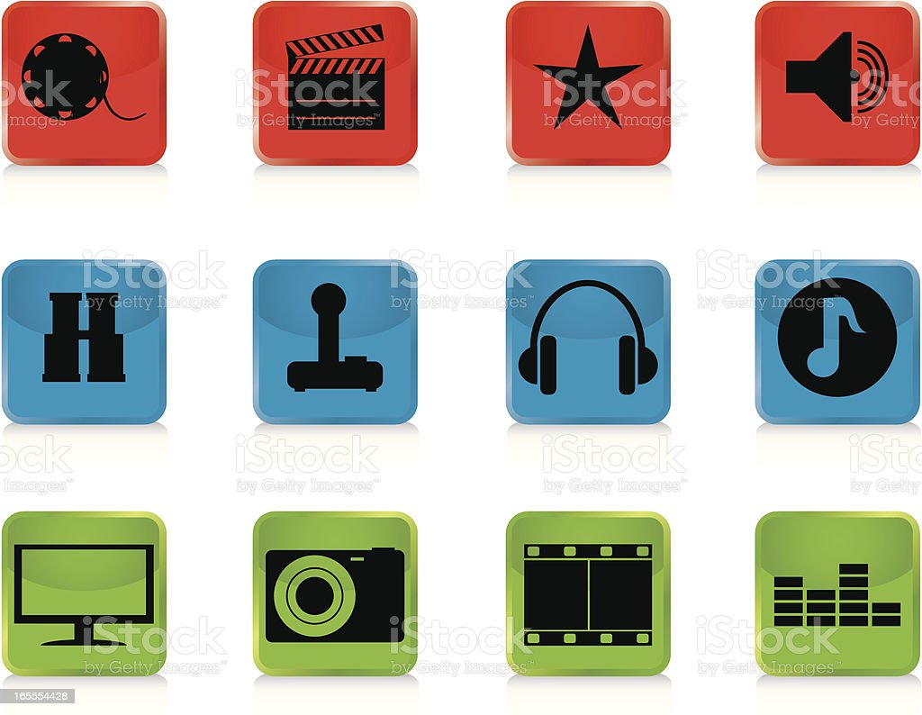 Internet Icons Series 3 - Audio & Visual, Buttons vector art illustration