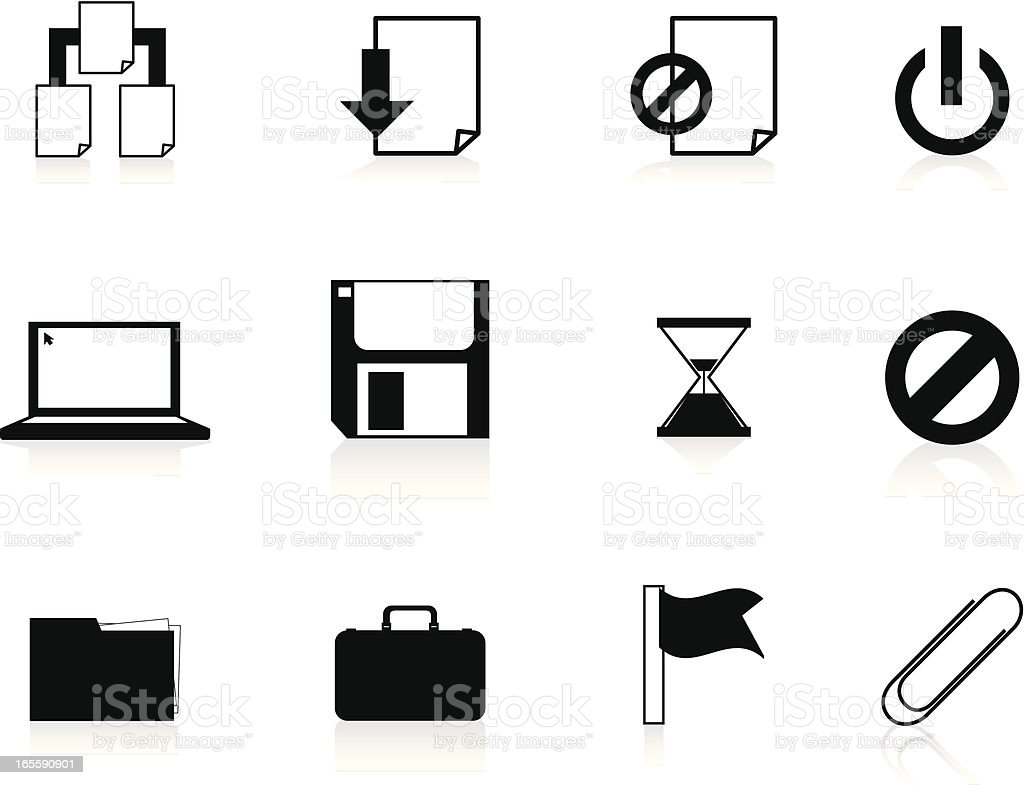 Internet Icons Series 4 - File management, Black royalty-free stock vector art