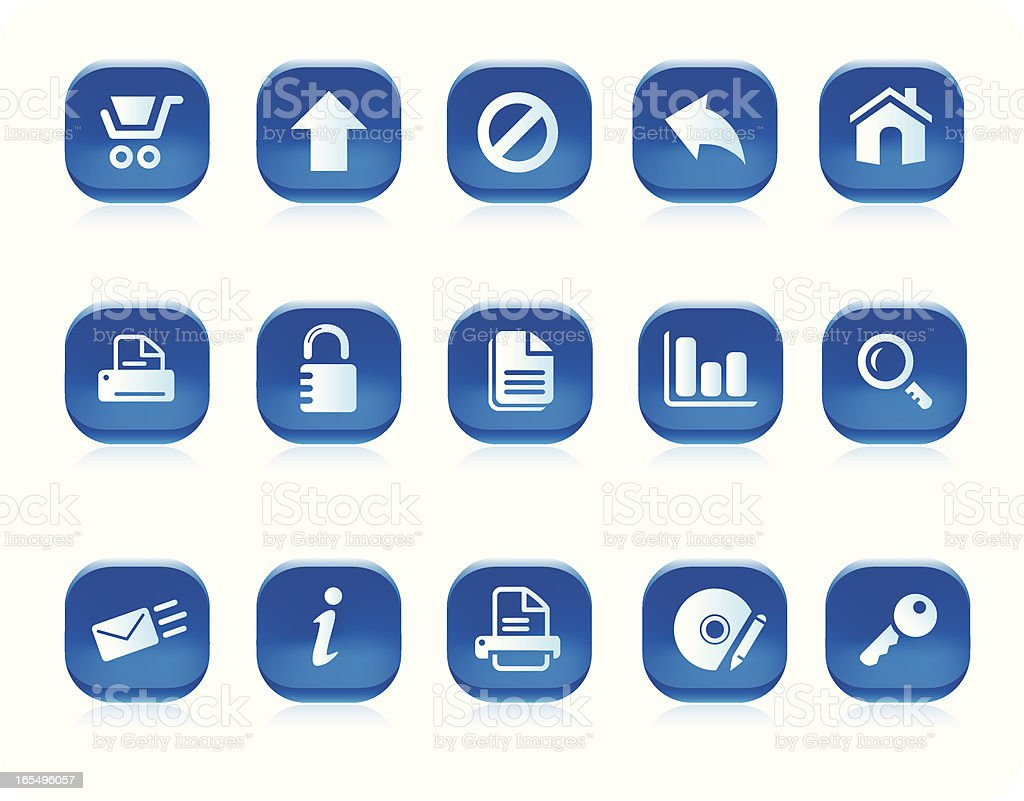 internet icons (blue) royalty-free stock vector art