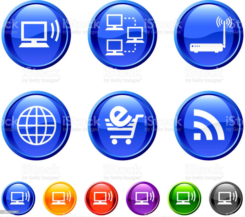 Internet icons with different designs royalty-free stock vector art
