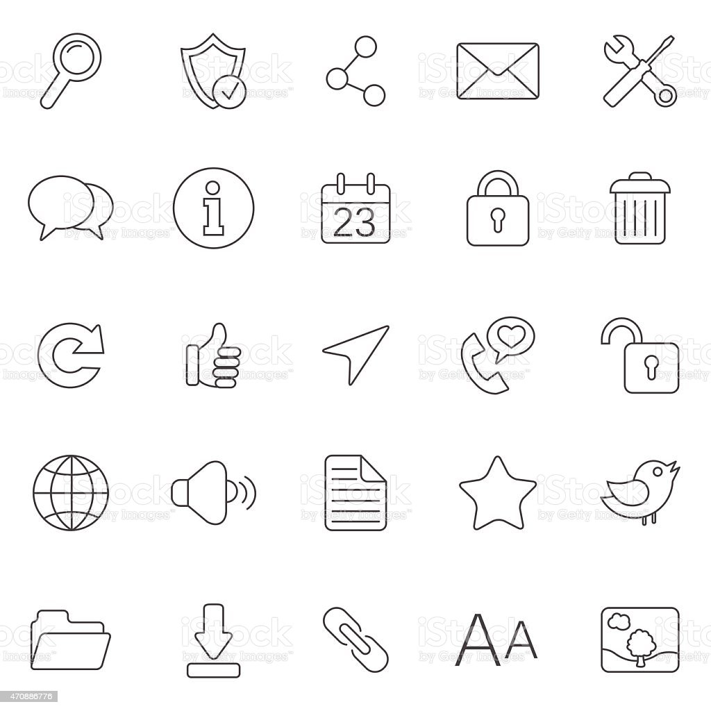 Internet line icons.Set 1.Vector vector art illustration