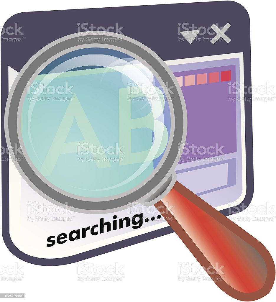 internet magnifying glass on a window royalty-free stock vector art