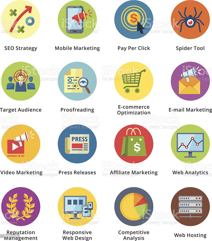SEO & Internet Marketing Flat Icons Set 3 - Bubble Series vector art illustration