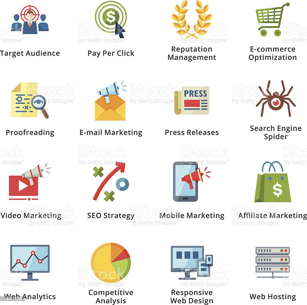 SEO & Internet Marketing Flat Icons - Set 3 vector art illustration
