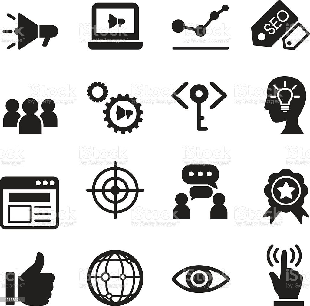 Internet marketing icon set vector art illustration