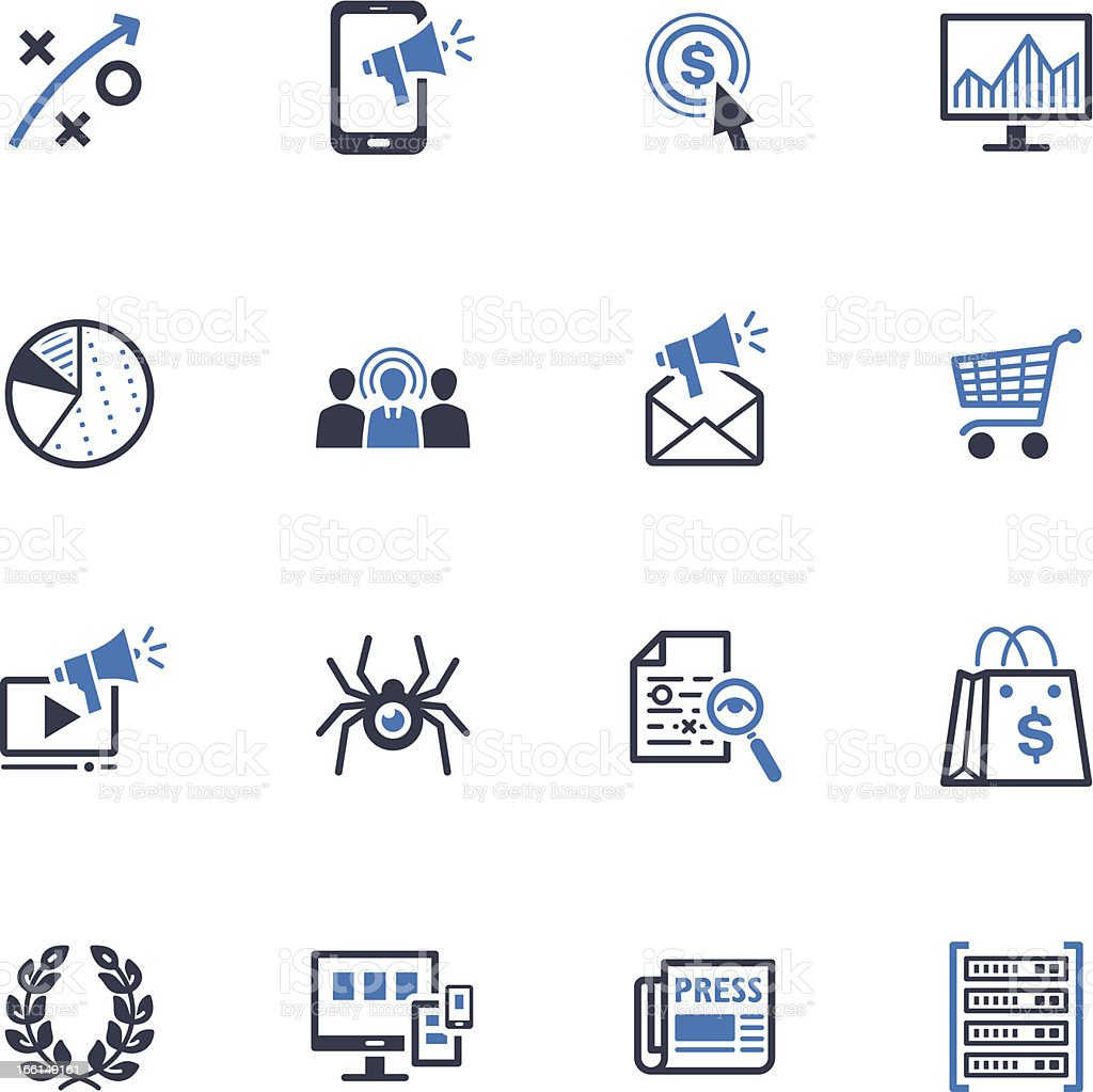 SEO & Internet Marketing Icons - Set 3   Blue Series vector art illustration