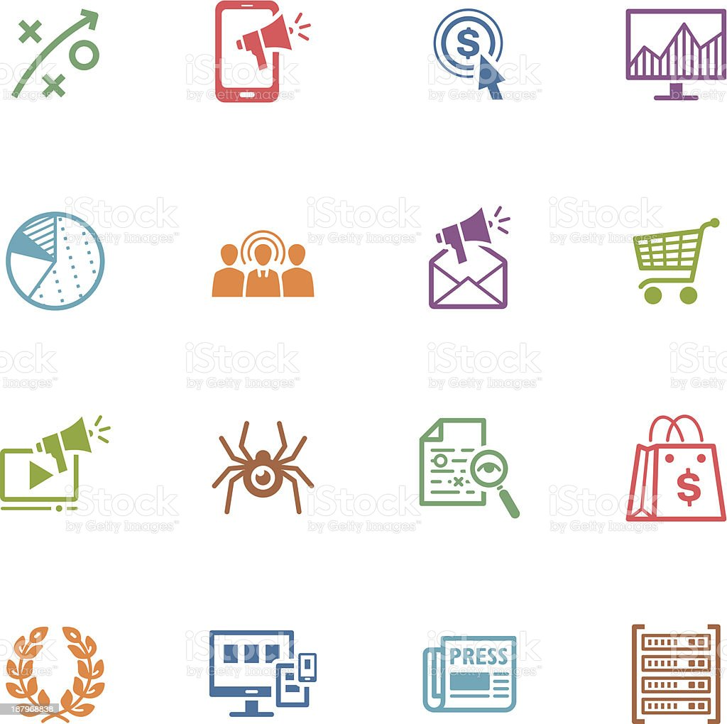 SEO & Internet Marketing Icons - Set 3   Colored Series vector art illustration