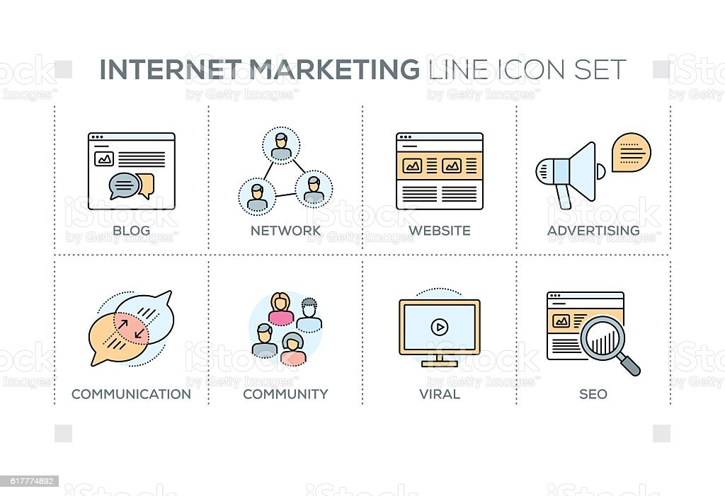 Internet Marketing keywords with line icons vector art illustration