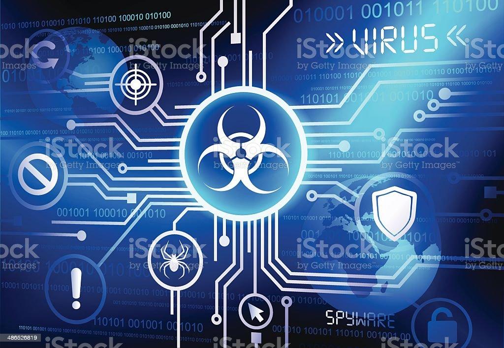 Internet network with virus vector art illustration