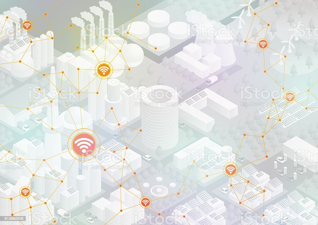 Internet of things, city and buildings, sensor network vector art illustration