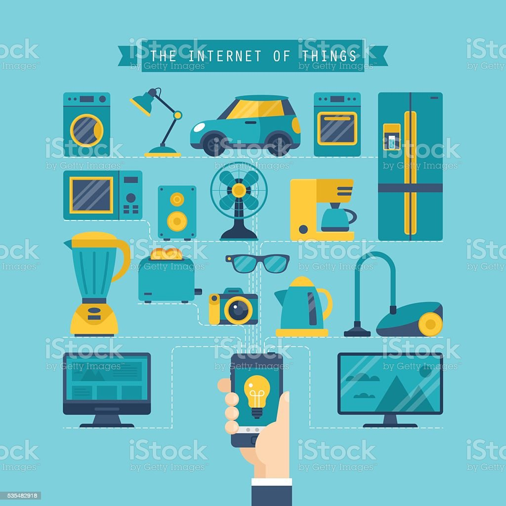 Internet of things concept with flat icons of home appliances vector art illustration