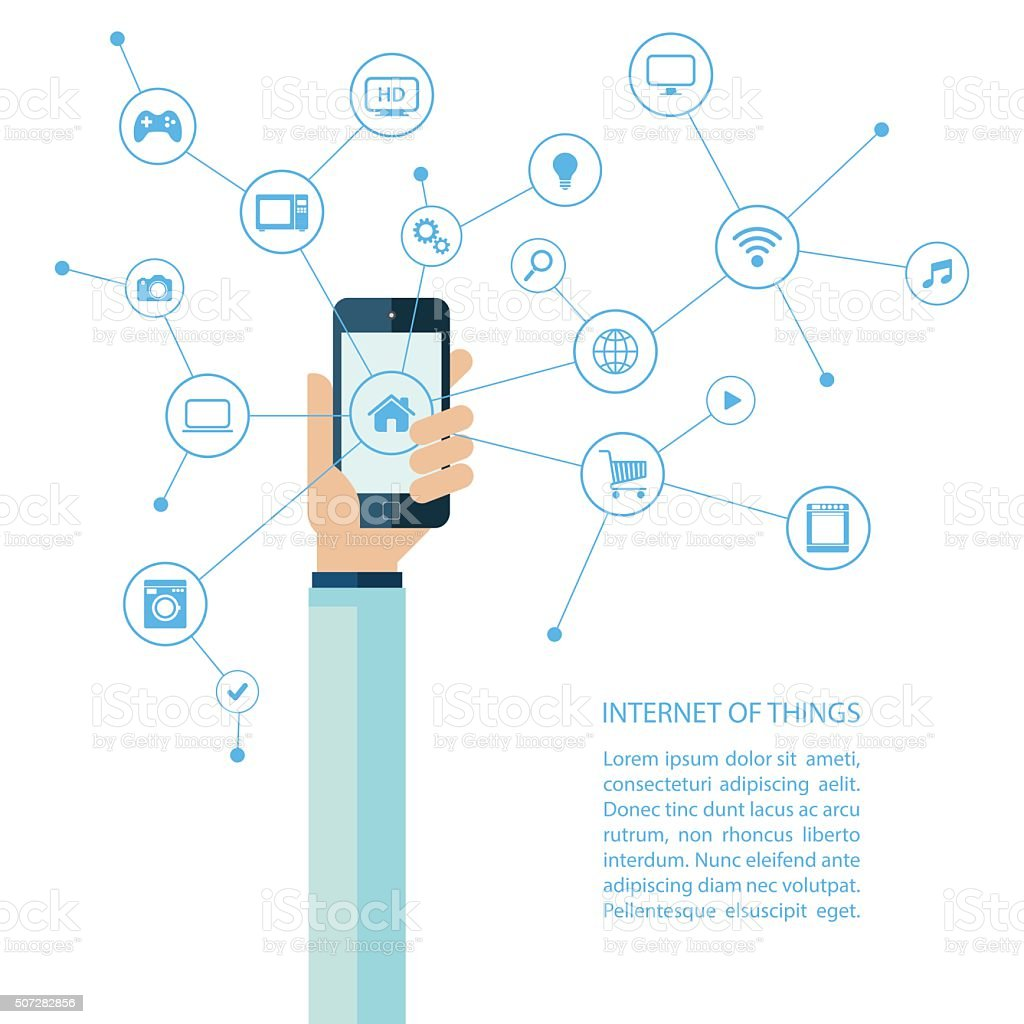 Internet of things concept with human hand holding smartphone. vector art illustration