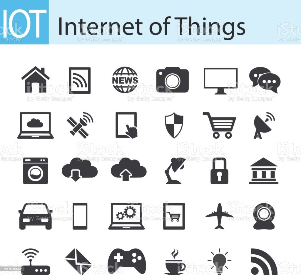Internet of things icon set. IOT concept vector art illustration