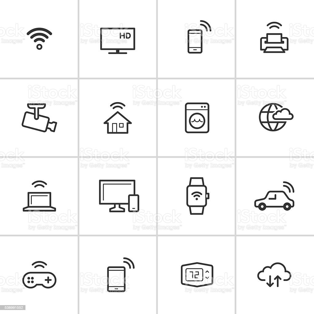 Internet of Things Icons — Inky Series vector art illustration
