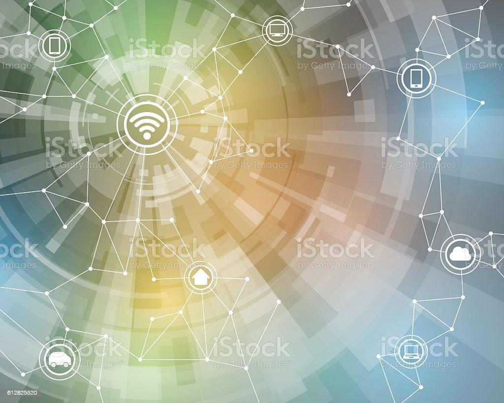 Internet of things, wireless sensor network vector art illustration