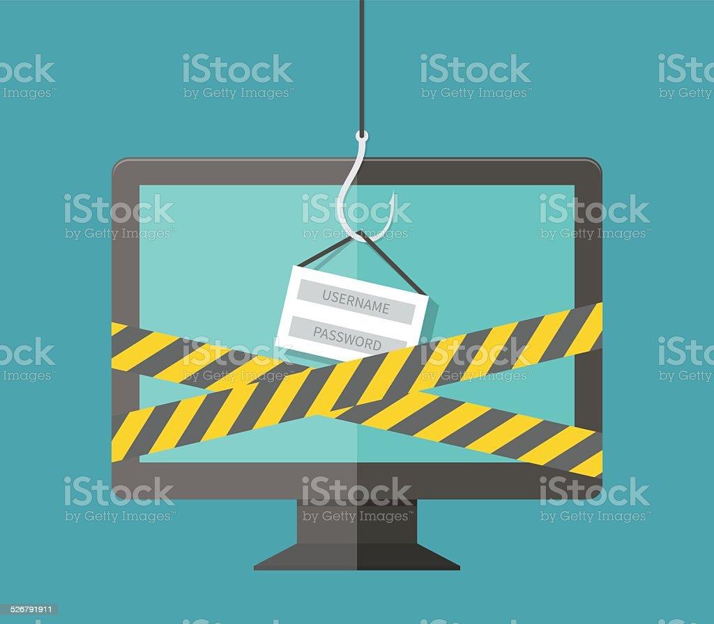 Internet Phishing, hacking login and password, internet security concept vector art illustration