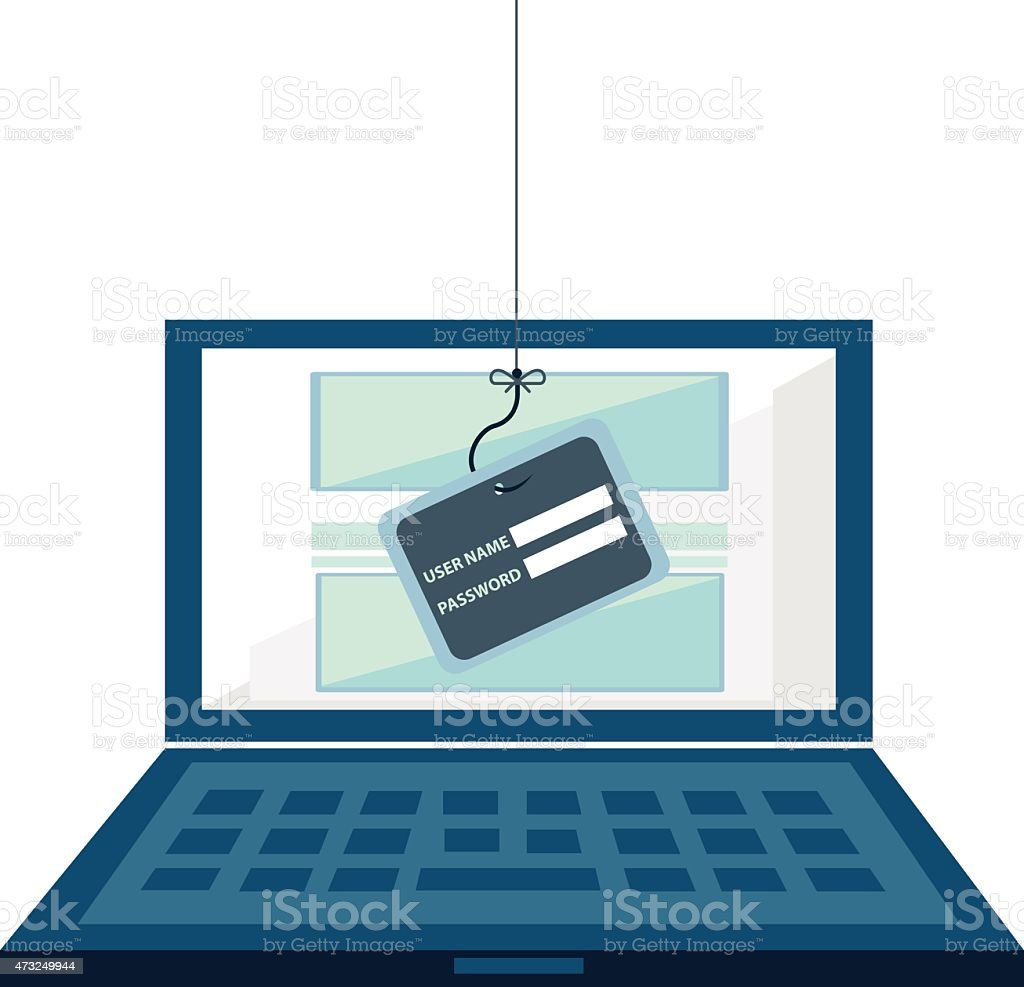 Internet Phishing, hacking login and password vector art illustration