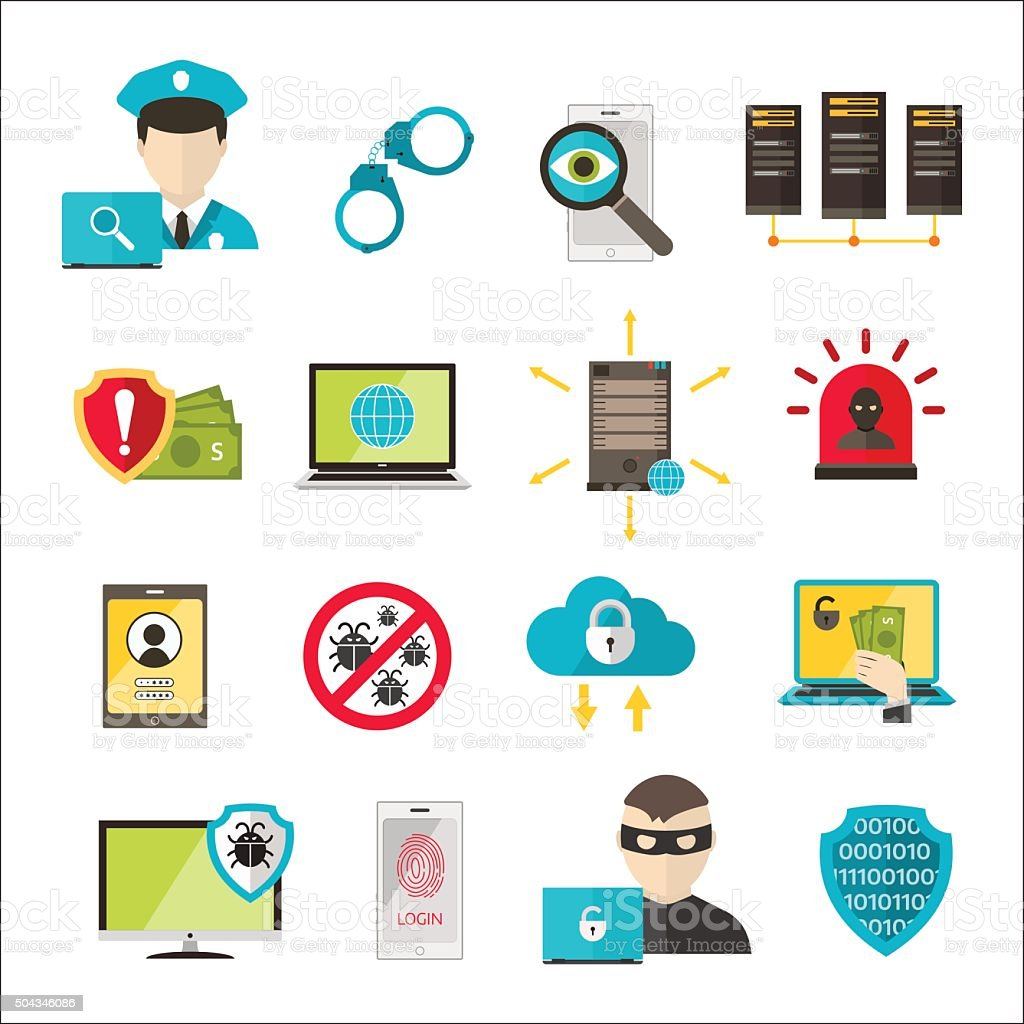 Internet safety icons virus cyber attack vector art illustration