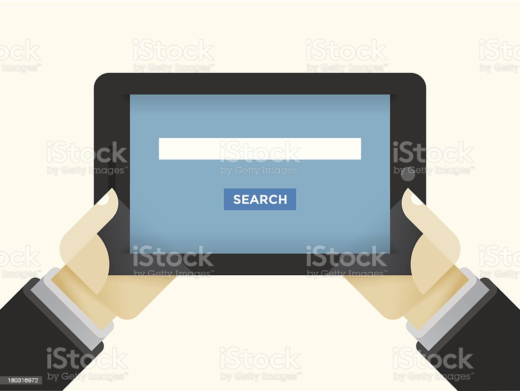 Internet Search field on Tablet Computer royalty-free stock vector art