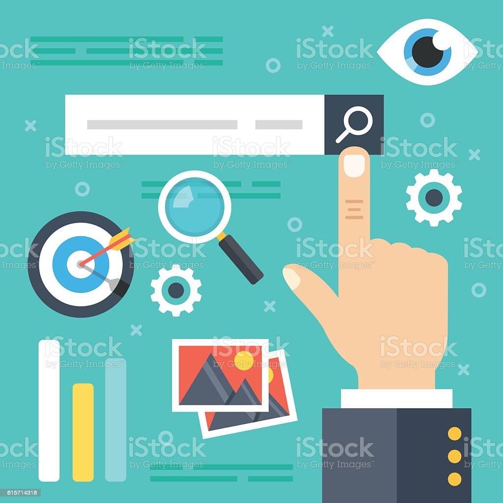 Internet search. Web surfing, find websites, information search. Flat illustration vector art illustration