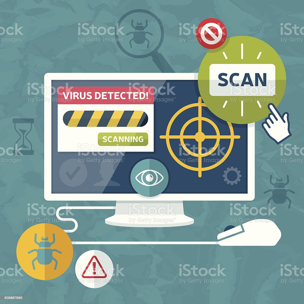 Internet Security and Computer Viruses vector art illustration