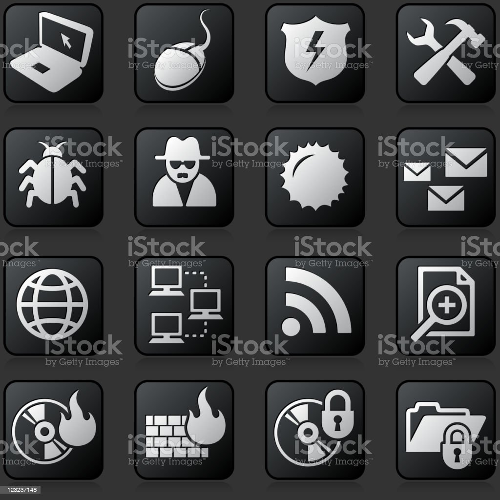 internet security button set on a dark Background royalty-free stock vector art
