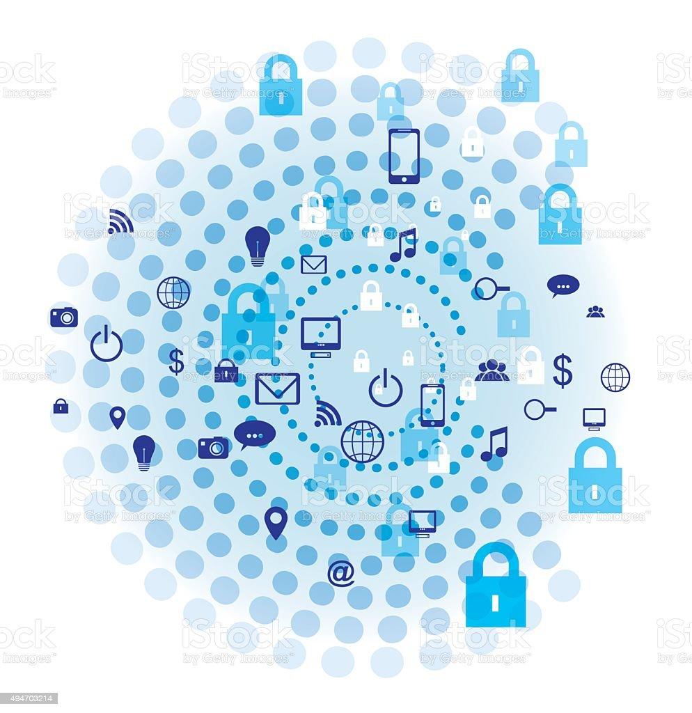 Internet security Concept vector design. Blue concentric circles vector art illustration