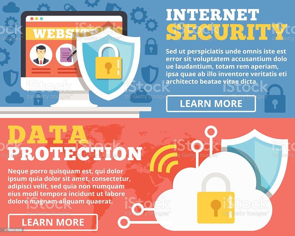 Internet security, data protection flat illustration concepts set vector art illustration