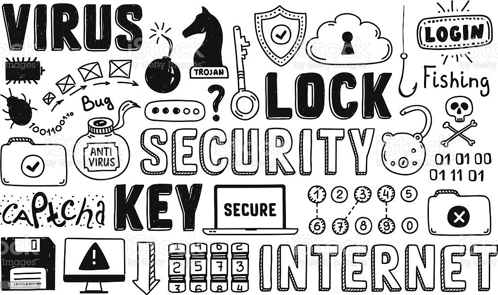 Internet security doodle vector set royalty-free stock vector art