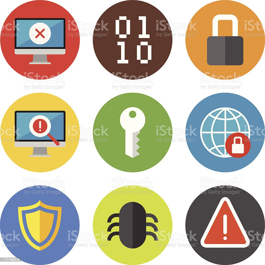 Internet security icons set royalty-free stock vector art