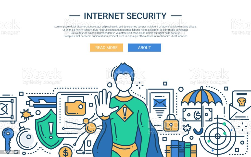 Internet Security - line design website banner vector art illustration