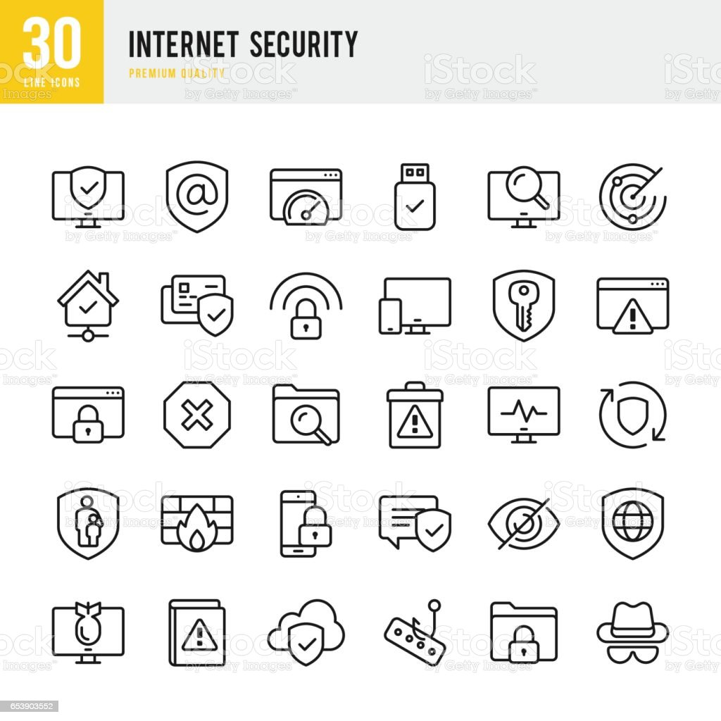 Internet Security - set of thin line vector icons vector art illustration
