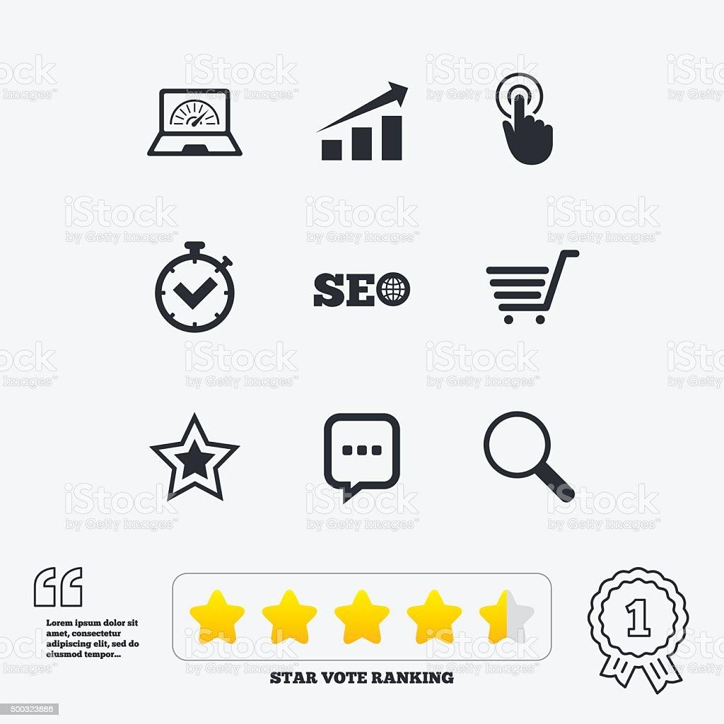 Internet, seo icons. Online shopping, charts vector art illustration