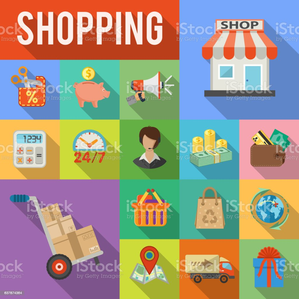 Internet Shopping and Delivery concept vector art illustration