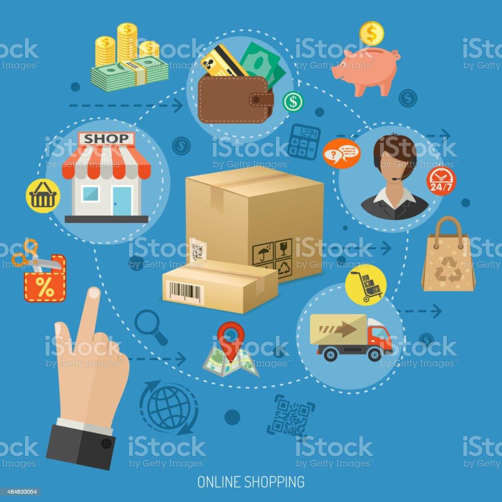 Internet Shopping Infographic vector art illustration