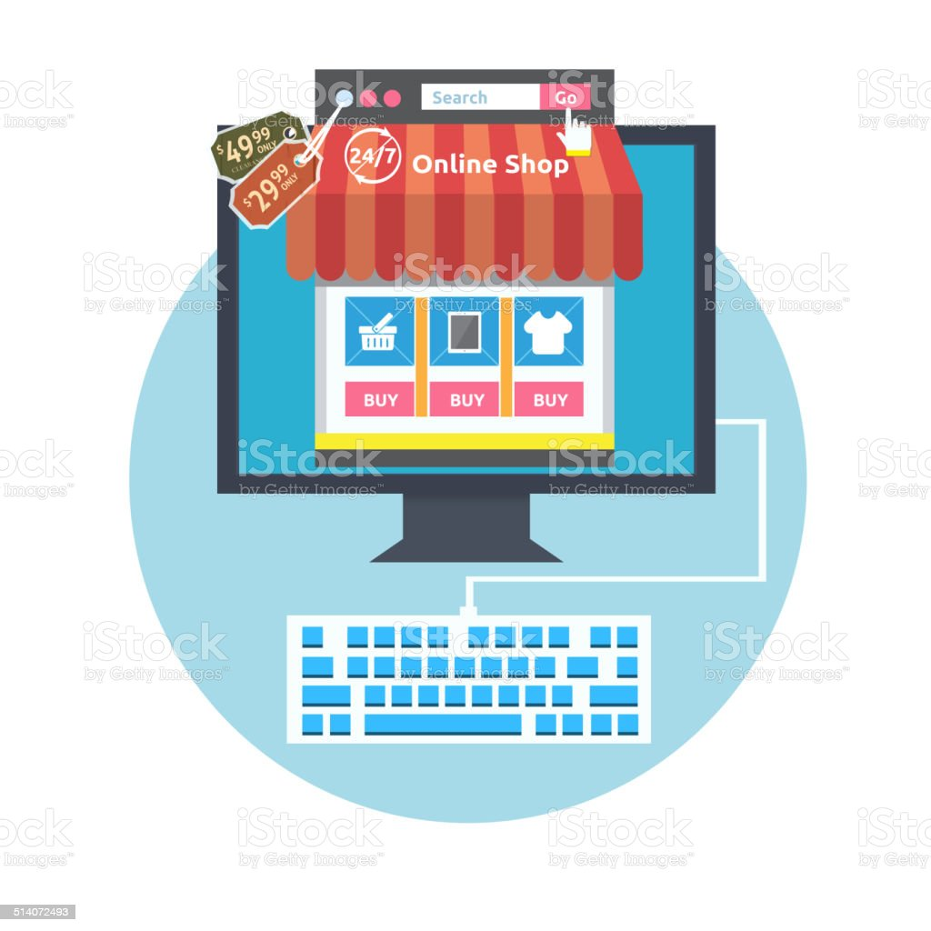 Internet shopping process vector art illustration