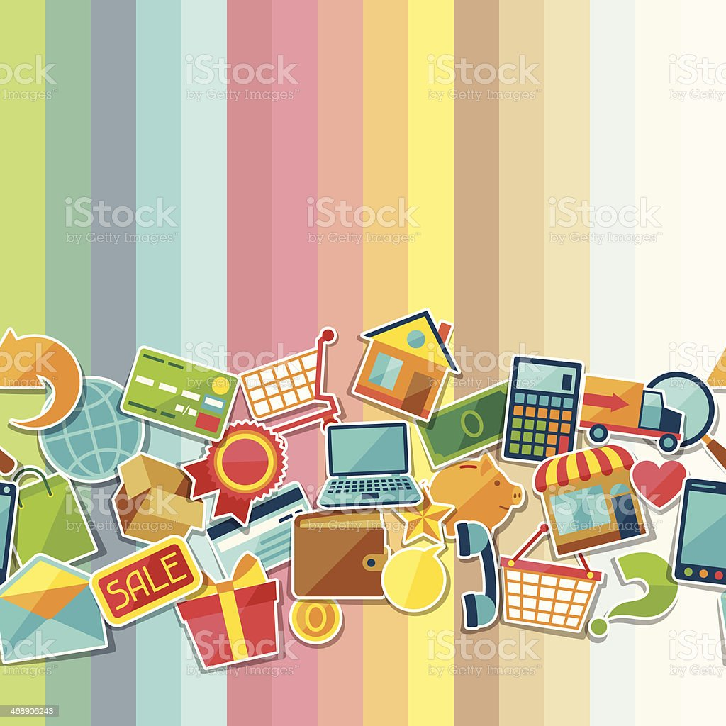 Internet shopping seamless pattern. vector art illustration