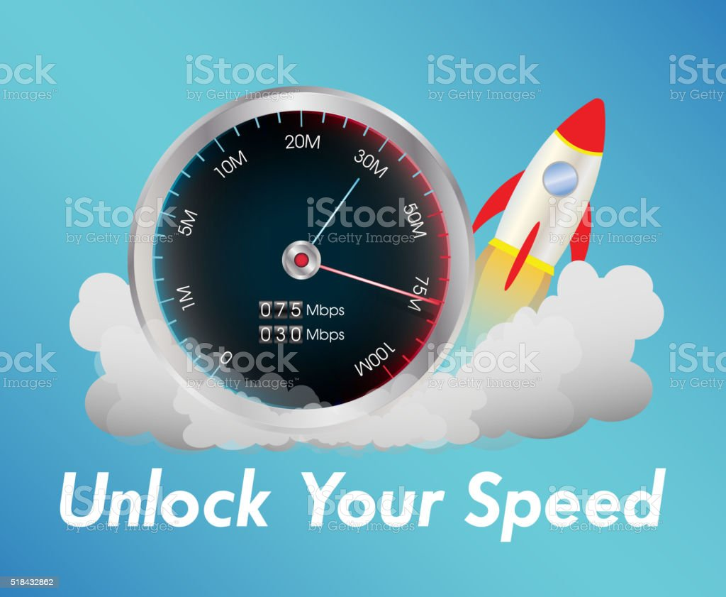 internet speed test meter with rocket vector art illustration