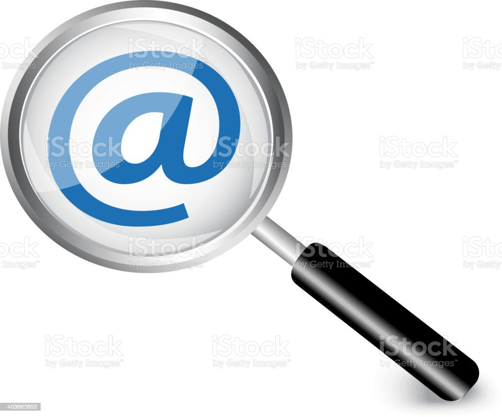 Internet symbol in a magnifying glass royalty-free stock vector art