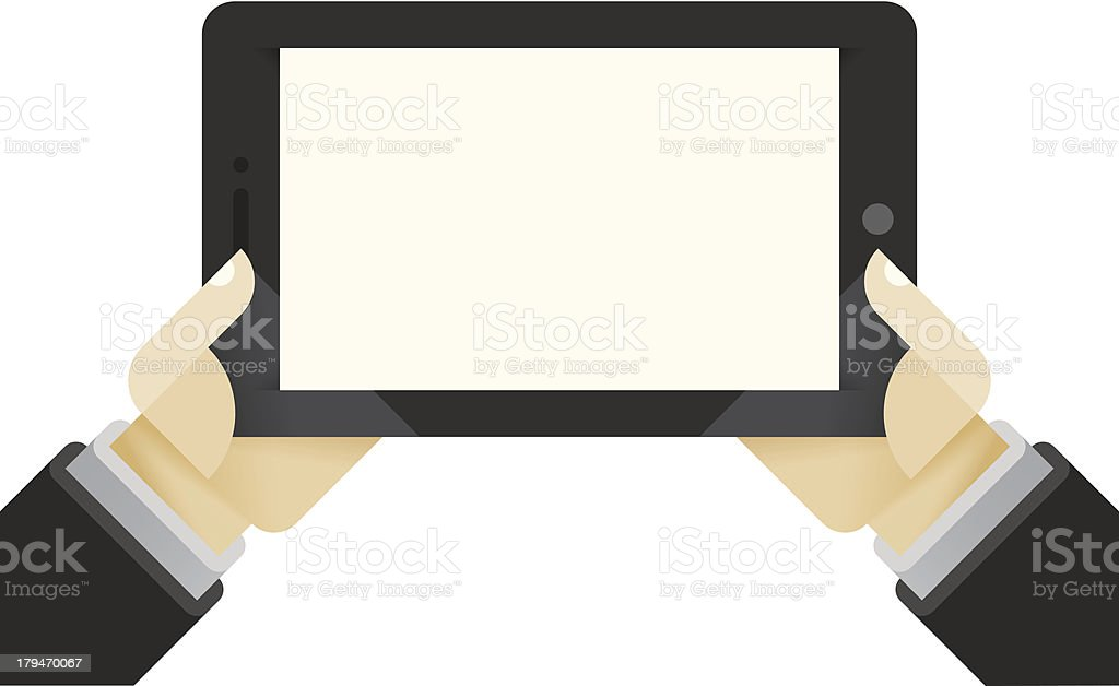 Internet tablet in businessman hands royalty-free stock vector art
