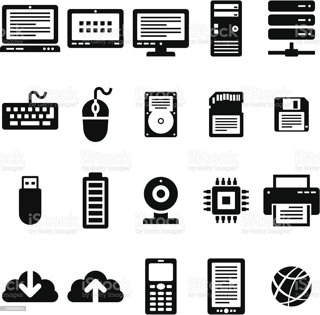 Internet Technology 20 Black Icons royalty-free stock photo