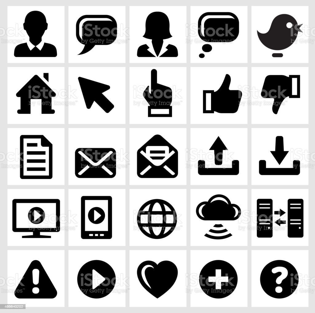 Internet Technology and Communication interface icons on White Background vector art illustration