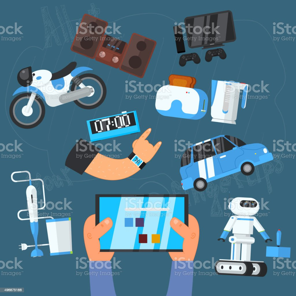 Internet Technology and Devices Icons Set, Vector vector art illustration