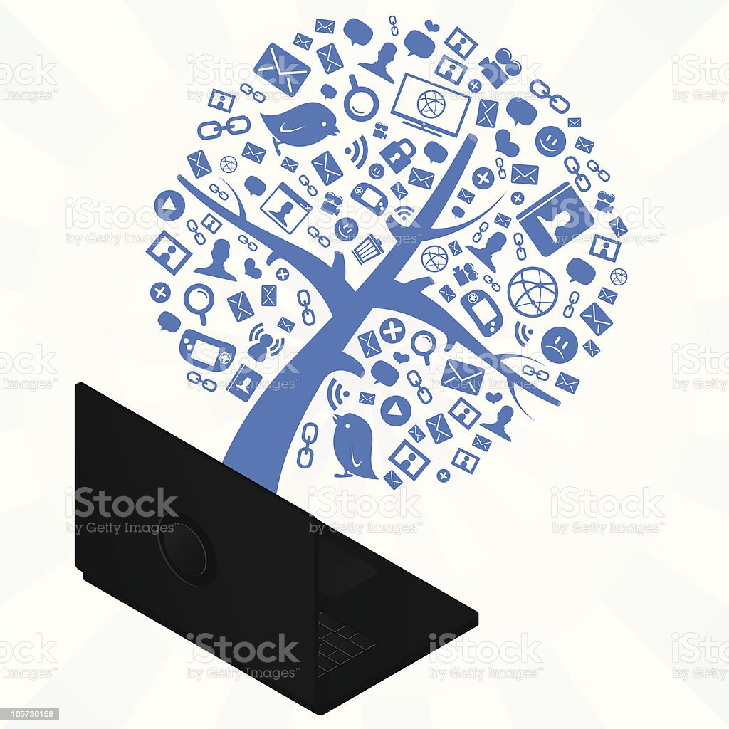 internet tree coming out from a laptop royalty-free stock vector art