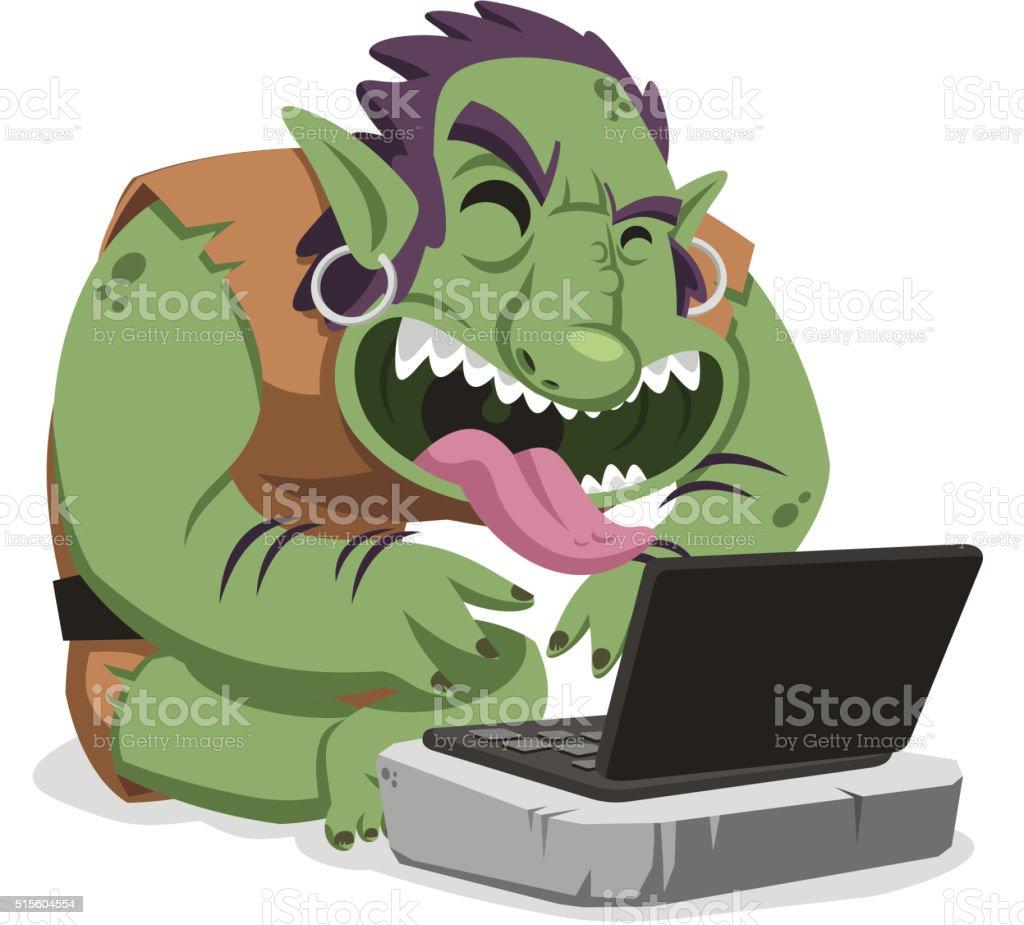 internet troll cartoon vector art illustration