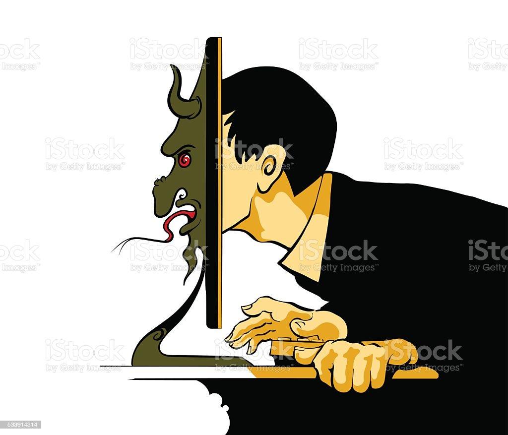 Internet Troll sitting at the computer vector art illustration
