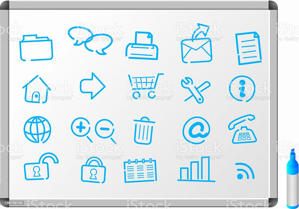 internet web Icons white board royalty-free stock vector art